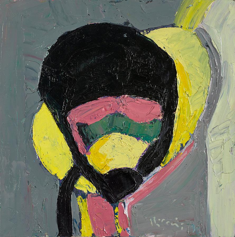 """oil on wood painting, Velimir Ilisevic, """"Helmet"""", 1998"""