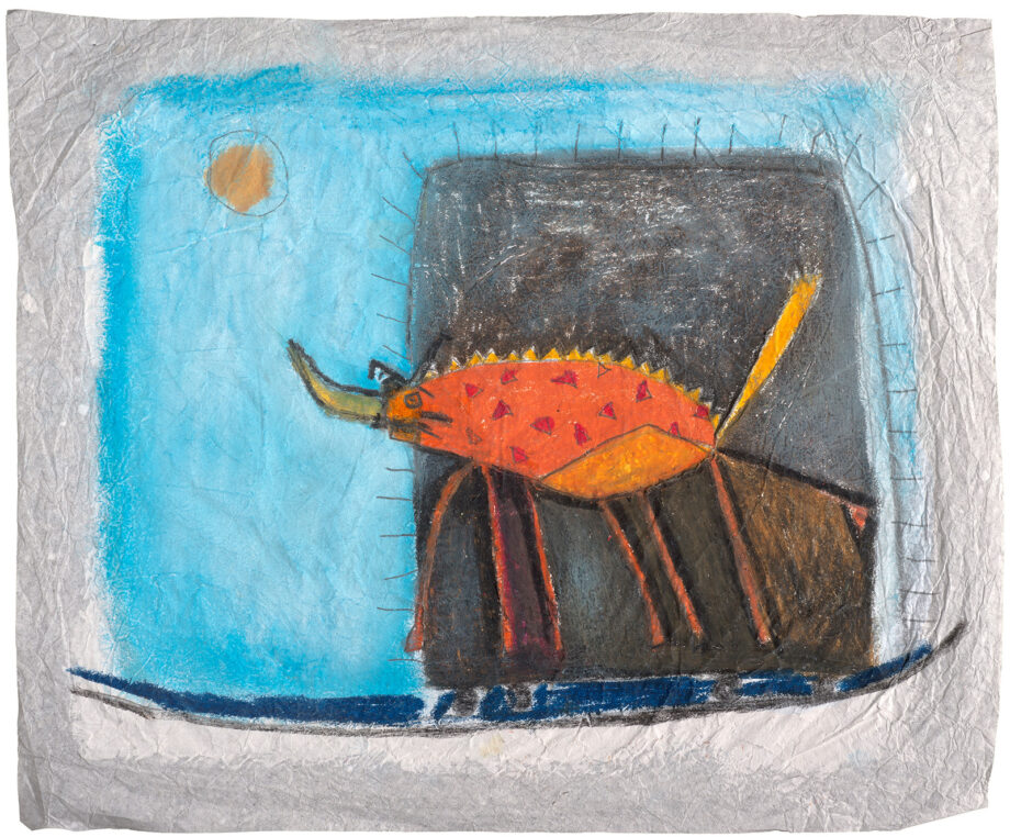 Art work, artist: Efimija Topolski, title of the work: A dangerous beetle, 2016, medium: mixed media on paper, dimensions: 29 x 35 cm