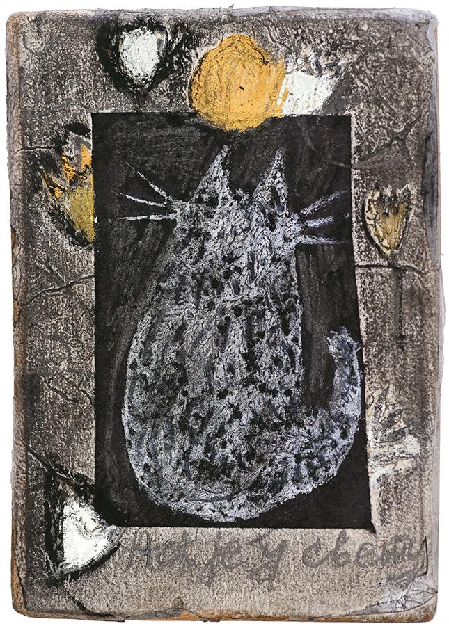 Art work, artist: Efimija Topolski, title of the work: Cat in the Night, 2018, medium: mixed media on wood, dimensions: 13,3 x 9,4 cm
