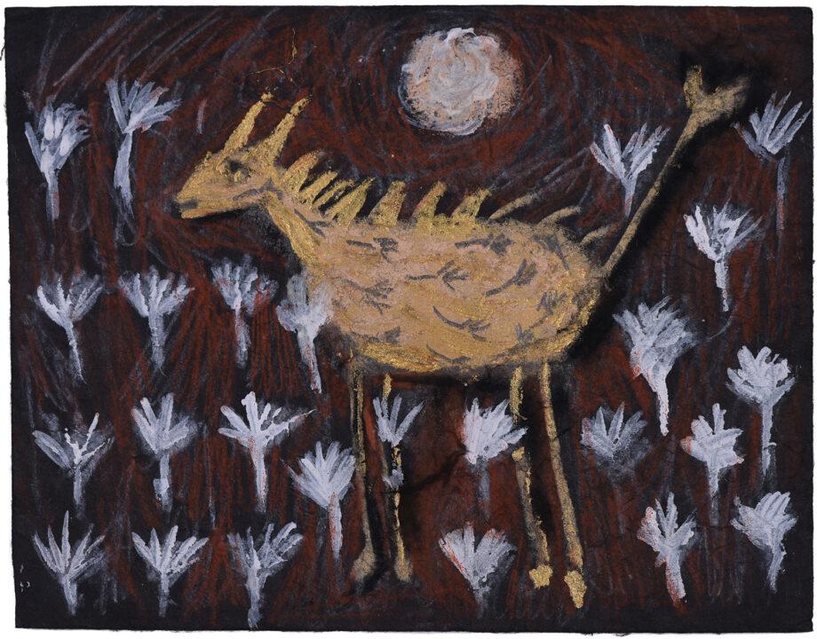Art work, artist: Efimija Topolski, title of the work: Doe, 2018, medium: mixed media on paper, dimensions: 12 x 15,5 cm