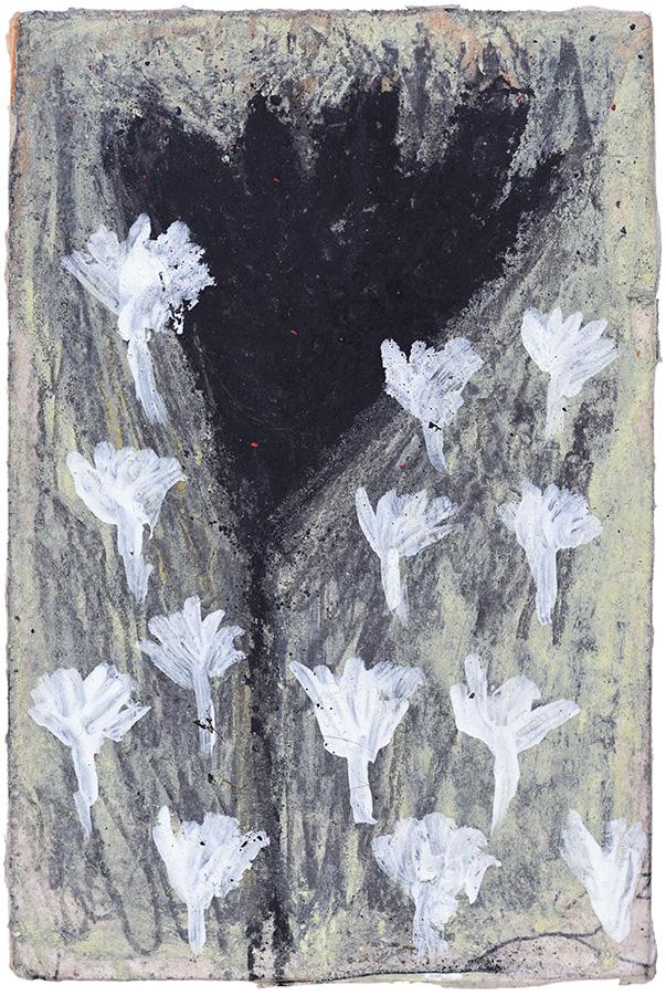 Art work, artist: Efimija Topolski, title of the work: Flower, 2018, medium: mixed media on wood, dimensions: 12,4 x 8,4 cm