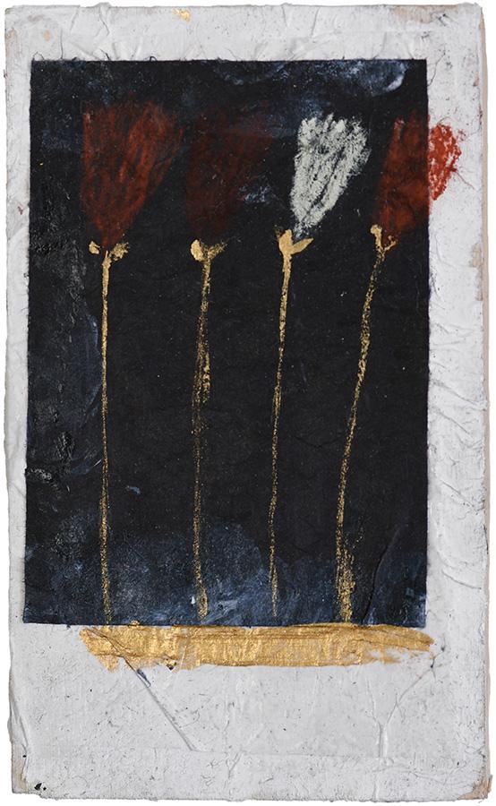 Art work, artist: Efimija Topolski, title of the work: Four flowers, 2018, medium: mixed media on wood, dimensions: 12 x 7,5 cm