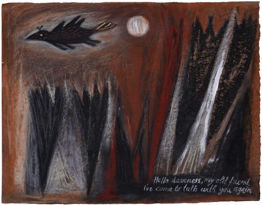 Art work, artist: Efimija Topolski, title of the work: Hello darkness my old friend, 2018, medium: soft pastel on paper, dimensions: 34 x 44 cm