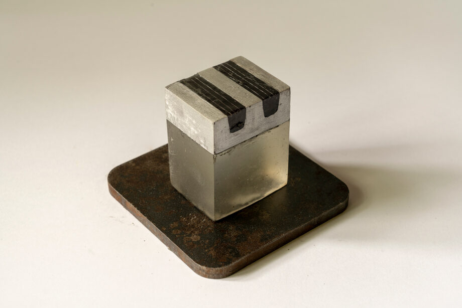 """Art object from """"SMALL, STILL, INVISIBLE"""" project, artist: Visnja Petrovic, title: SMALL, STILL, INVISIBLE - Untitled, year: 2019, media: steel, resin; dimensions: 9 x 12 x 12 cm (3.5 x 4.7 x 4.7 inch)"""