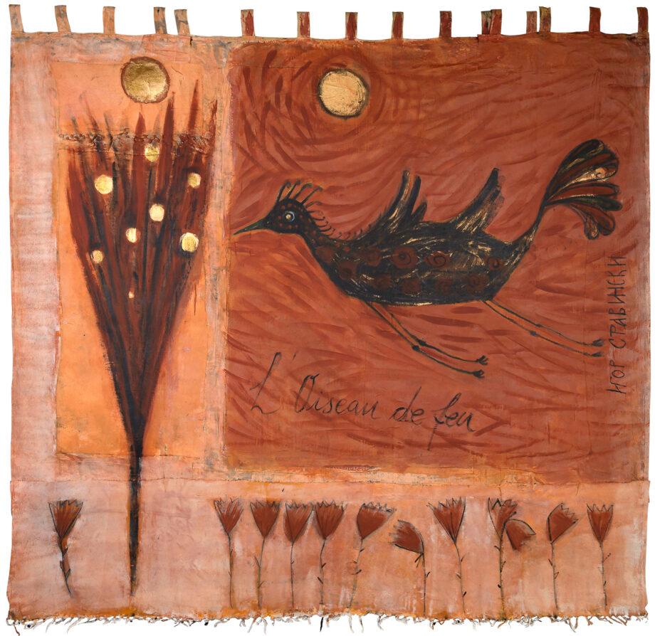 Art work, artist: Efimija Topolski, title of the work: L' Oiseau de feu, 2018, medium: acrylic on unstretched canvas, dimensions: 234,5 x 247 cm
