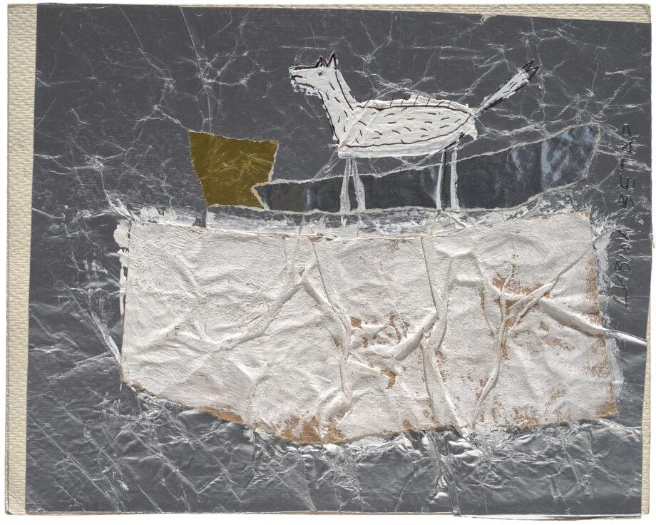 Art work, artist: Efimija Topolski, title of the work: Longing II (wild boar), 1990, medium: mixed media on paper, dimensions: 15,4 x 19,5 cm