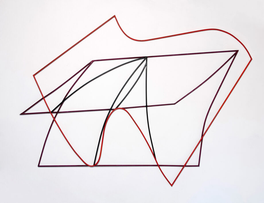 Art object (drawing in space), artist: Visnja Petrovic, title: Notes on Catastrophes 11, year: 2009-2018, media: steel, dimensions: 123 x 145 cm (48.4 x 57.1 inch)