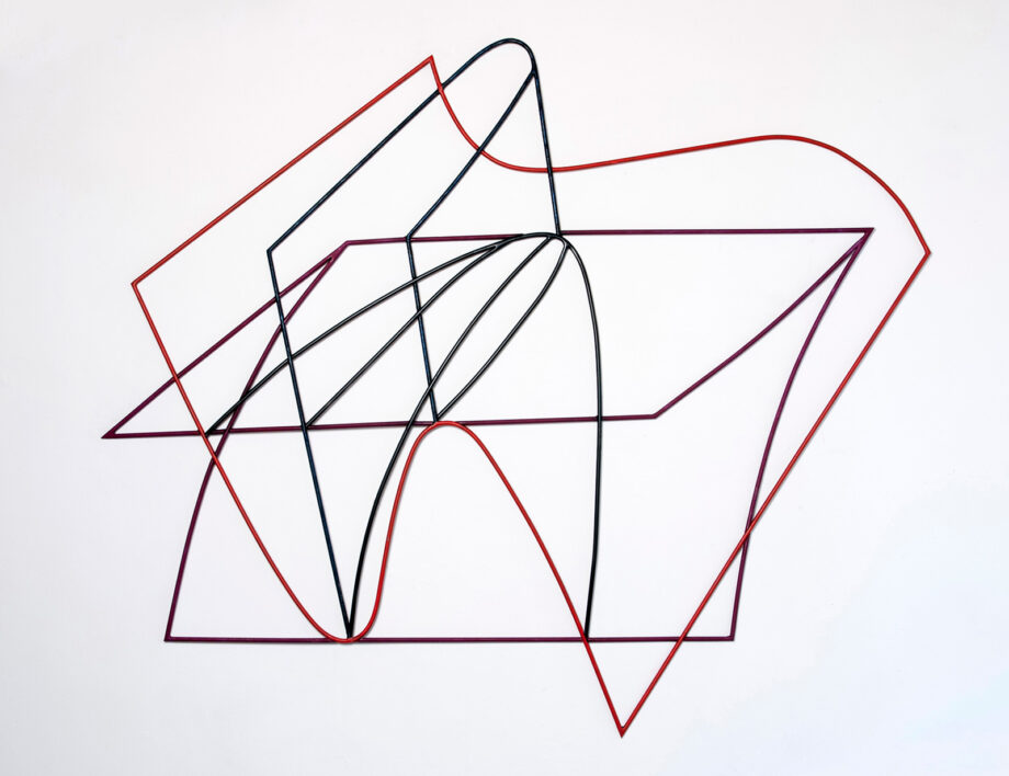 Art object (drawing in space), artist: Visnja Petrovic, title: Notes on Catastrophes 12, year: 2009-2018, media: steel, dimensions: 123 x 145 cm (48.4 x 57.1 inch)