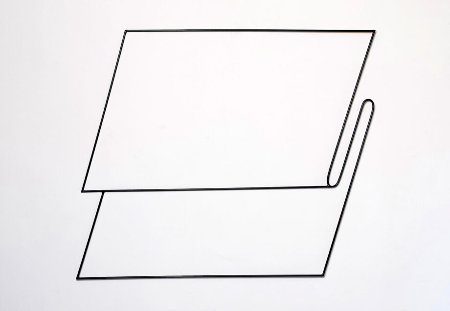 Art object (drawing in space), artist: Visnja Petrovic, title: Notes on Catastrophes 17, year: 2009-2018, media: steel, dimensions: 76 x 87 cm (29.9 x 34.3 inch)