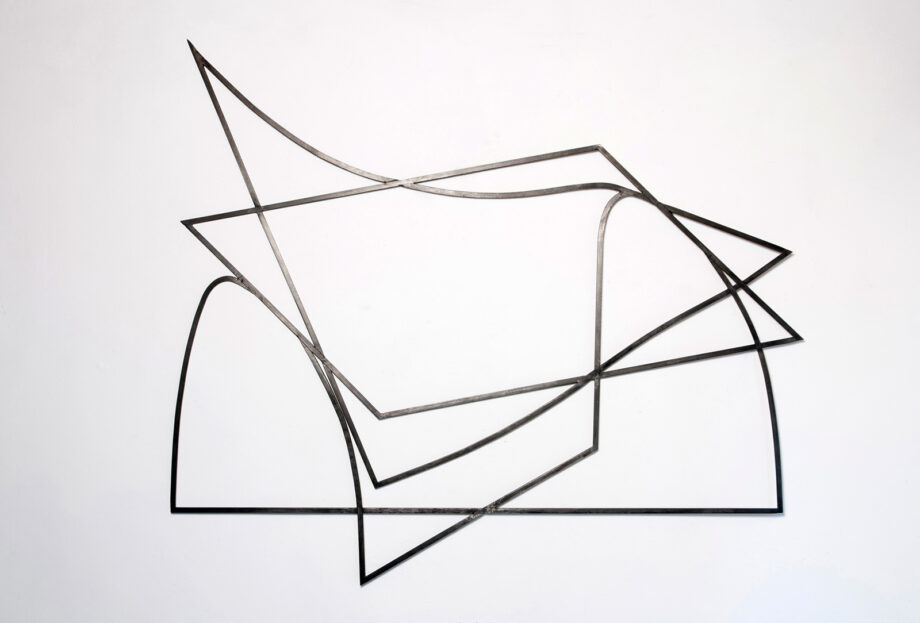 Art object (drawing in space), artist: Visnja Petrovic, title: Notes on Catastrophes 22, year: 2009-2018, media: steel, dimensions: 122 x 136 cm (48 x 53.5 inch)