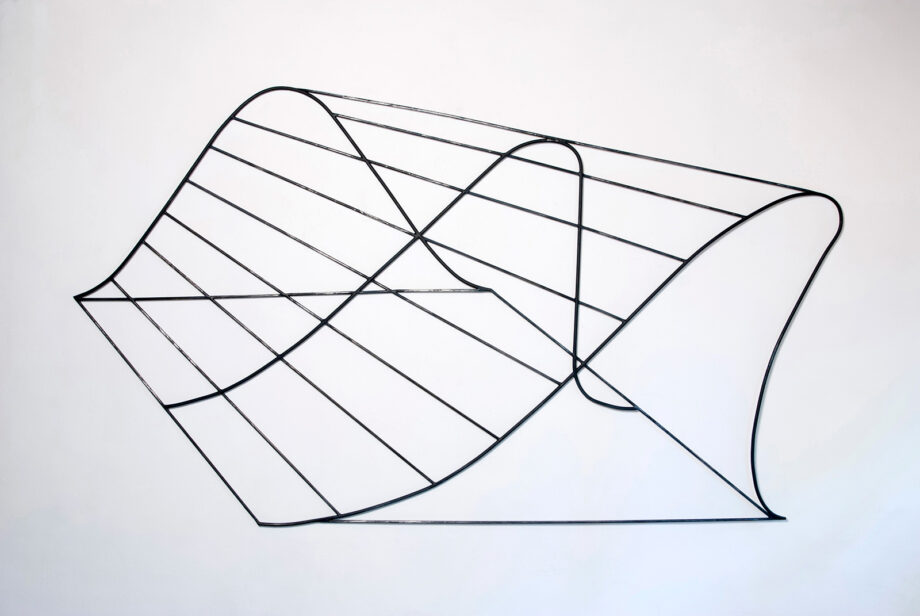 Art object (drawing in space), artist: Visnja Petrovic, title: Notes on Catastrophes 34, year: 2009-2018, media: steel, dimensions: 123 x 218 cm (48.4 x 85.8 inch)