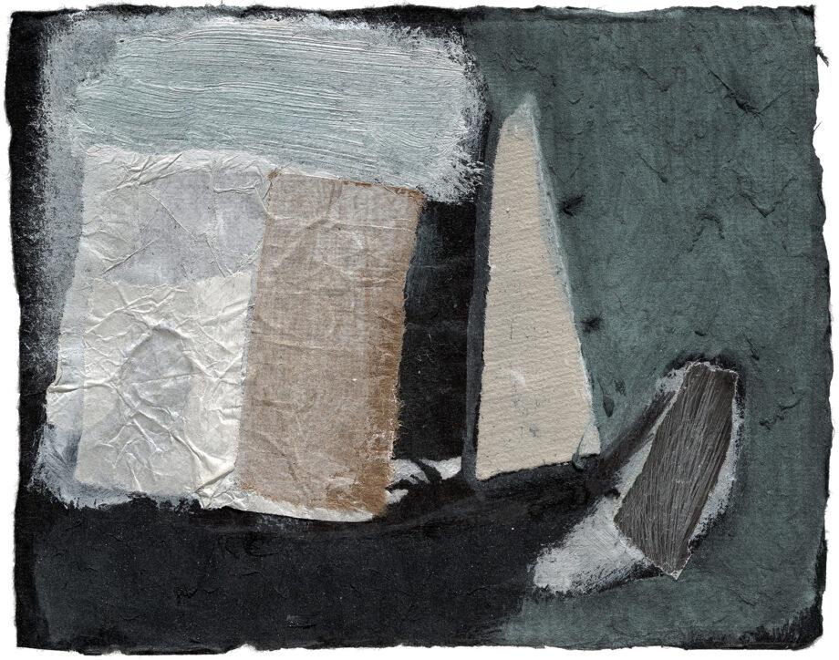 Art work, artist: Efimija Topolski, title of the work: Small boat, 1990, medium: mixed media on paper, dimensions: 15,5 x 19,5 cm