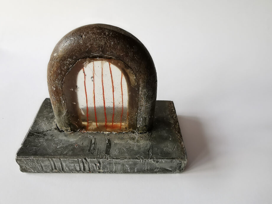 """Art object from """"SMALL, STILL, INVISIBLE"""" project, artist: Visnja Petrovic, title: SMALL, STILL, INVISIBLE - Untitled, year: 2019, media: iron, resin, thread; dimensions: 9 x 12 x 12 cm (3.5 x 4.7 x 4.7 inch)"""