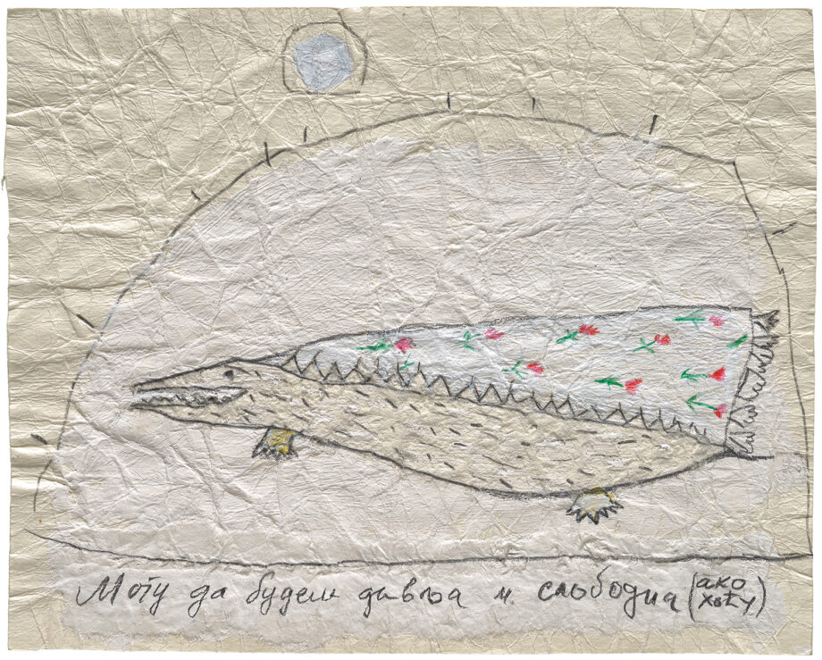art drawing, artist: Efimija Topolski, title of the work: Wild and free, 1990, medium: mixed media on paper, dimensions: 15,2 x 19 cm
