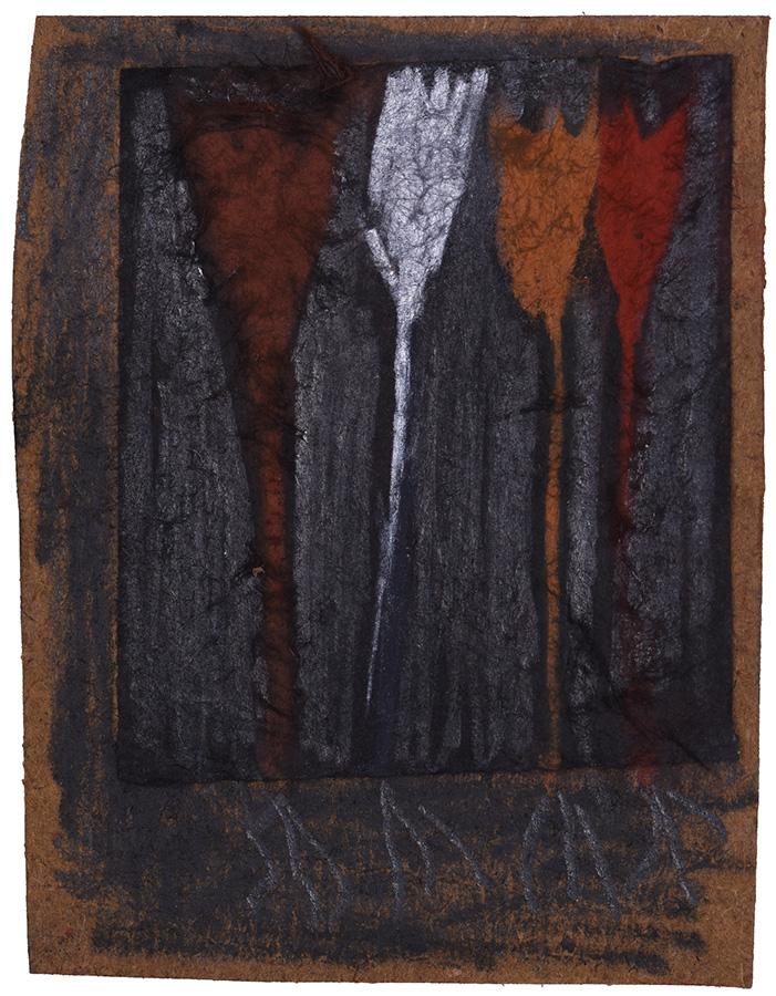 Art work, artist: Efimija Topolski, title of the work: three plus one?, 2018, medium: mixed media on paper, dimensions: 8,8 x 6,8 cm