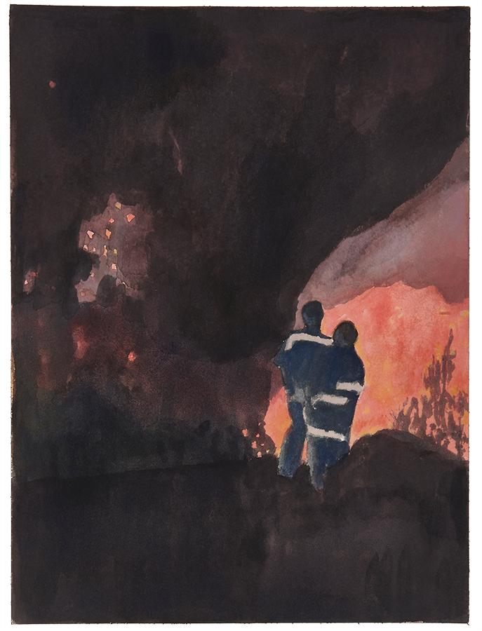 Artistic work, artist Goran Dragas, title: Fire, year: 2018, media: aquarelle and ink, dimensions: 30.5 x 22.9 cm (12 x 9 inch)