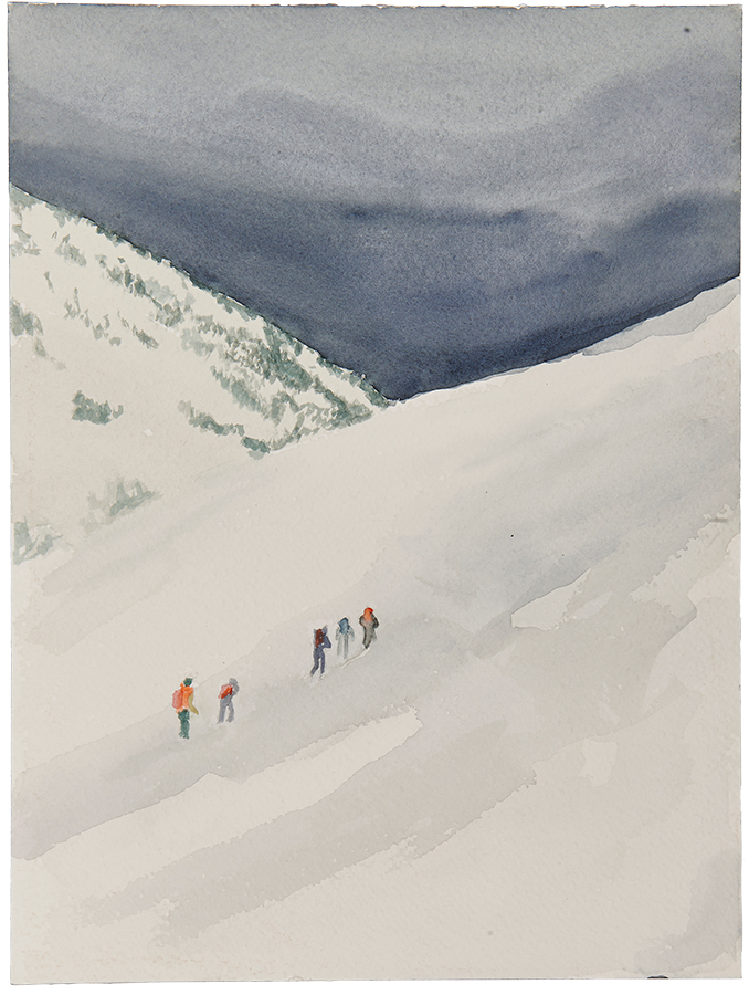 Artistic work, artist Goran Dragas, title: Line, year: 2018, media: aquarelle and ink, dimensions: 30.5 x 22.9 cm (12 x 9 inch)
