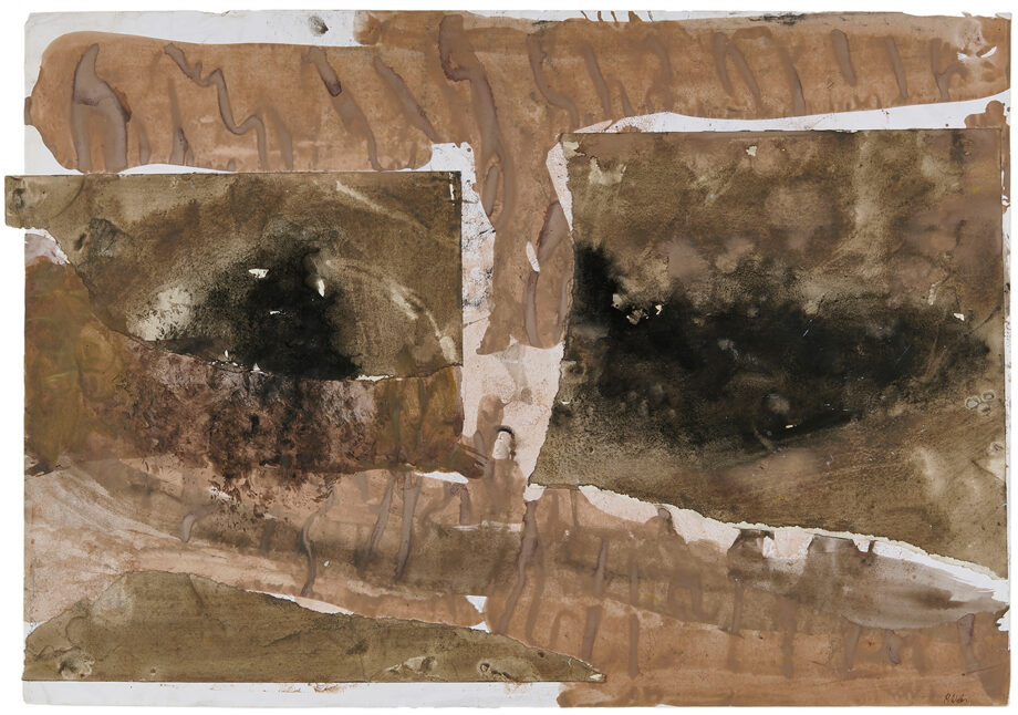 """Art work (painting), artist: Kurt Oskar Weber, title: """"Death Valley"""" , year: 1991-1998, media: acrylic and collage on paper, dimensions: 59 x 85.7 cm (23.2 x 33.7 inch)"""