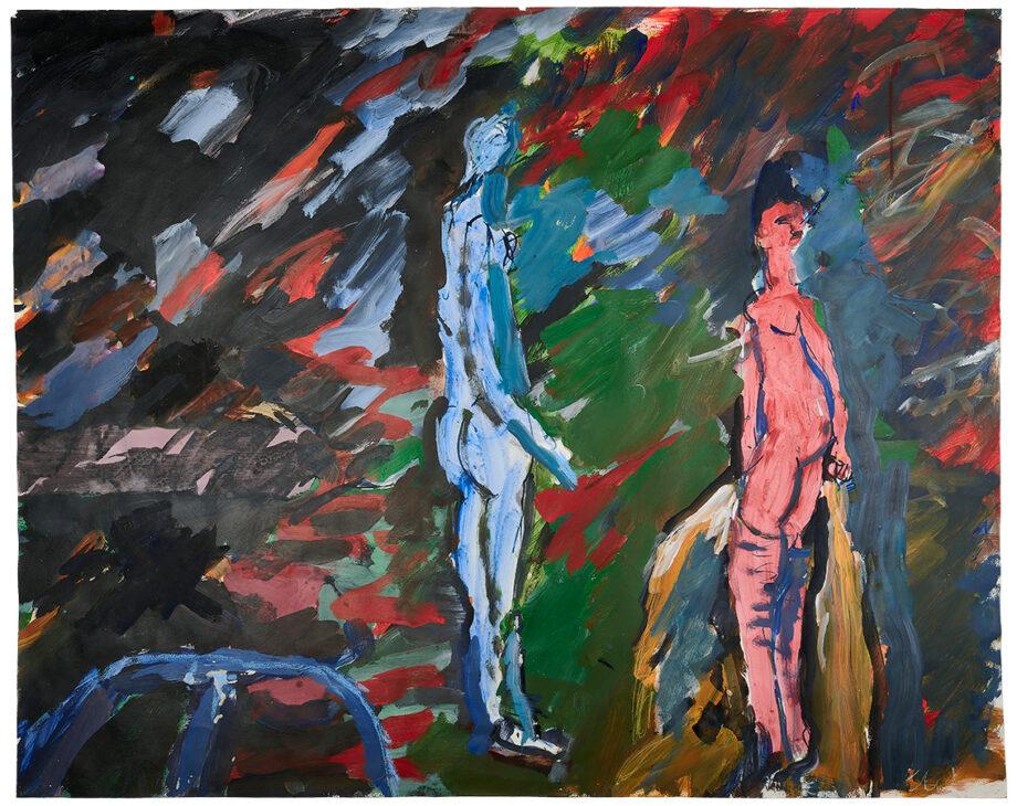 "Art work (painting), artist: Kurt Oskar Weber, title: ""Figures"", year: 1973 Colorado, media: acrylic on paper, dimensions: 81 x 101.9 cm (31.9 x 40.1 inch)"