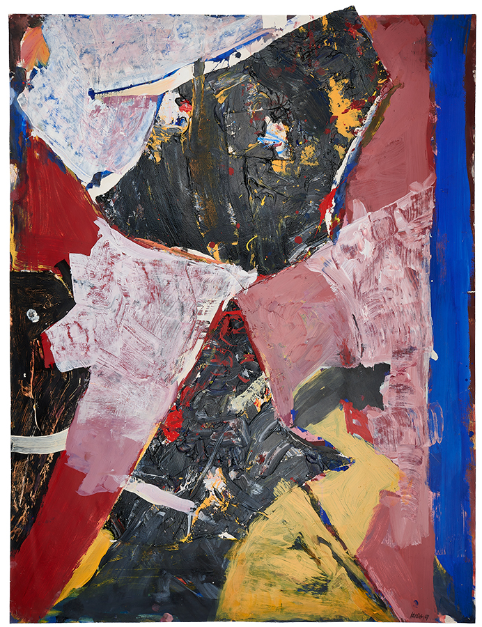 """Art work (painting), artist: Kurt Oskar Weber, title: """"Shifting Territories"""", year: 2003, media: collage and acrylic on paper, dimensions: 128.5 x 97 cm (50.6 x 38.2 inch)"""