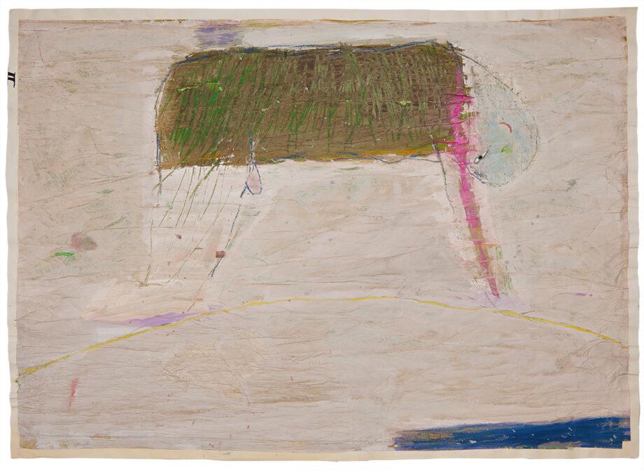 Artistic drawing, artist: Visnja Petrovic, title: Untitled (Man), year: 1987, media: mixed media on handmade paper, dimensions: 68.9 x 96.9 cm (27.1 x 38.1 inch)