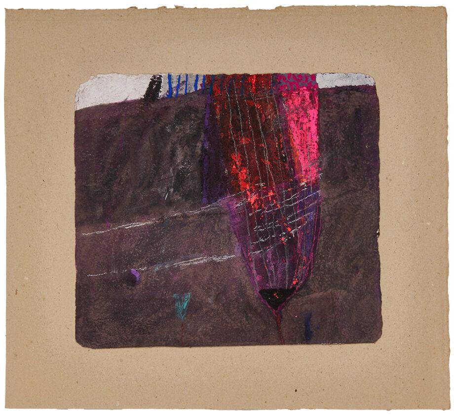 Artistic drawing, artist: Visnja Petrovic, title: Untitled (Flower), year: 1991, media: mixed media on handmade cardboard, dimensions: 30.5 x 34 cm (12 x 13.4 inch)