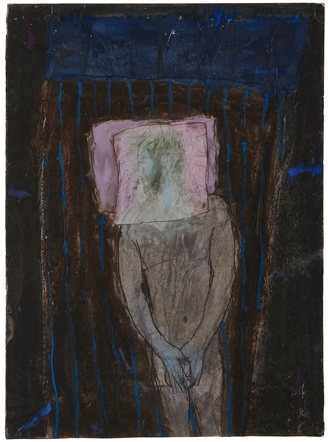 Artistic drawing, artist: Visnja Petrovic, title: Untitled (Sleeper), year: 1986, media: mixed media on collaged paper, dimensions: 67.5 x 50.2 cm (26.6 x 19.8 inch)