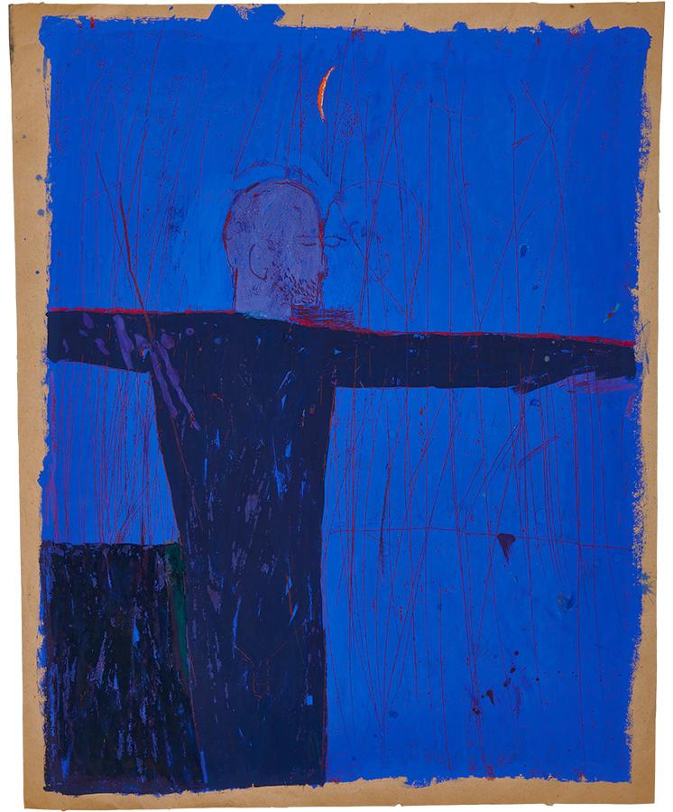 Artistic drawing, artist: Visnja Petrovic, title: Untitled (Sleeper), year: 1987, media: mixed media on paper, dimensions: 62.5 x 49.8 cm (24.6 x 19.6 inch)