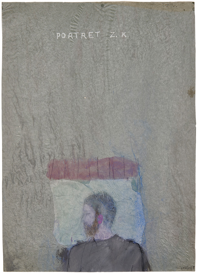 Artistic drawing, artist: Visnja Petrovic, title: Untitled (Portrait of ZK), year: 1986, media: mixed media on paper, dimensions: 65 x 46.9 cm (25.6 x 18.5 inch)