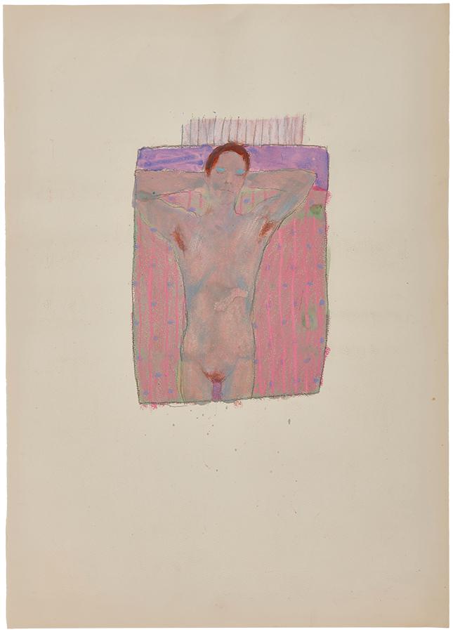 Artistic drawing, artist: Visnja Petrovic, title: Untitled (Sleeper), year: 1986, media: mixed media on paper, dimensions: 65 x 46.9 cm (25.6 x 18.5 inch)