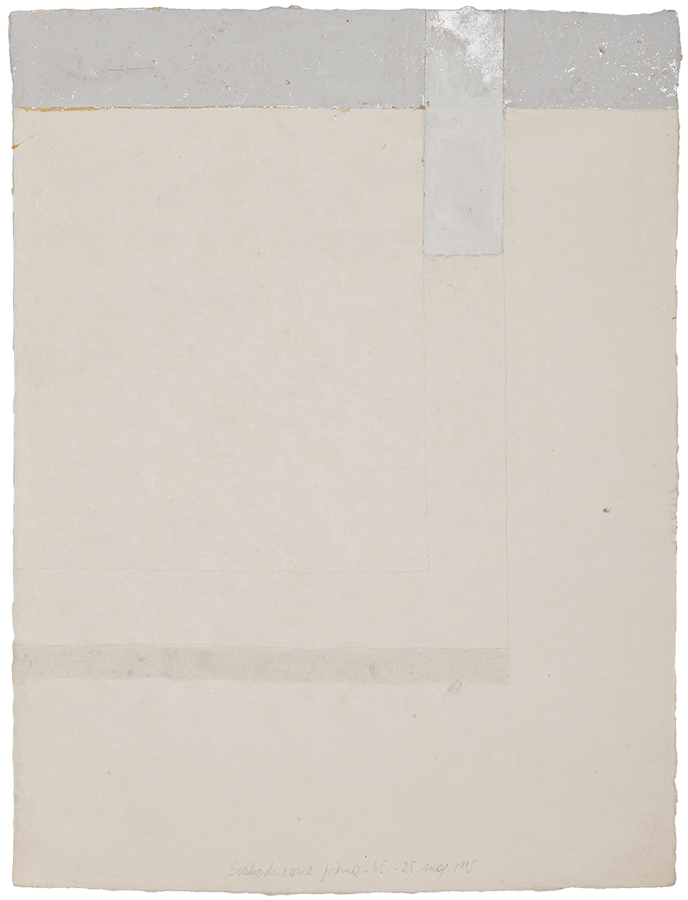 Artistic drawing, artist: Visnja Petrovic, title: Everyday letters 45, year: 1995, media: mixed media on handmade Japanese paper, dimensions: 60 x 45.5 cm (23.6 x 17.9 inch)