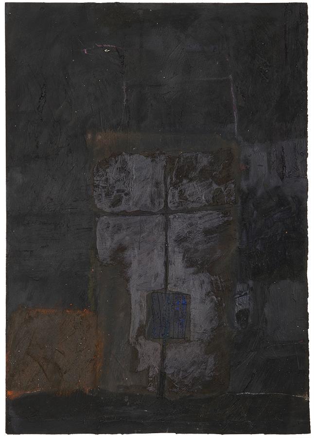 Artistic drawing, artist: Visnja Petrovic, title: Untitled (Torso), year: 1989, media: mixed media on canvas, dimensions: 50.6 x 35.6 cm (19.9 x 14 inch