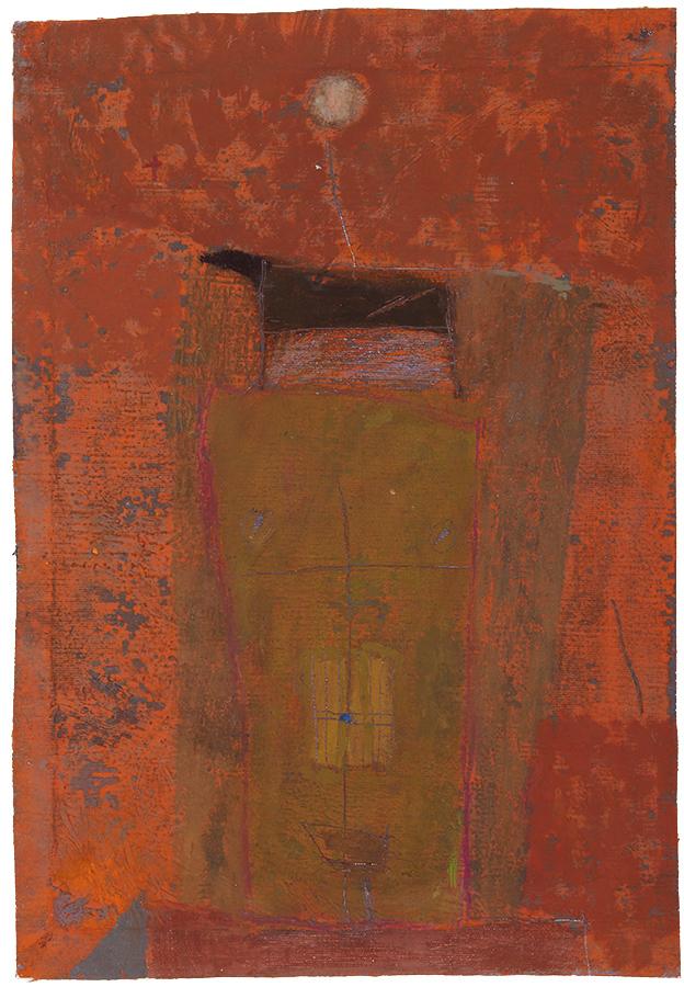 Artistic drawing, artist: Visnja Petrovic, title: Untitled (Torso), year: 1989, media: mixed media on canvas, dimensions: 39.2 x 26.9 cm (15.4 x 10.6 inch)
