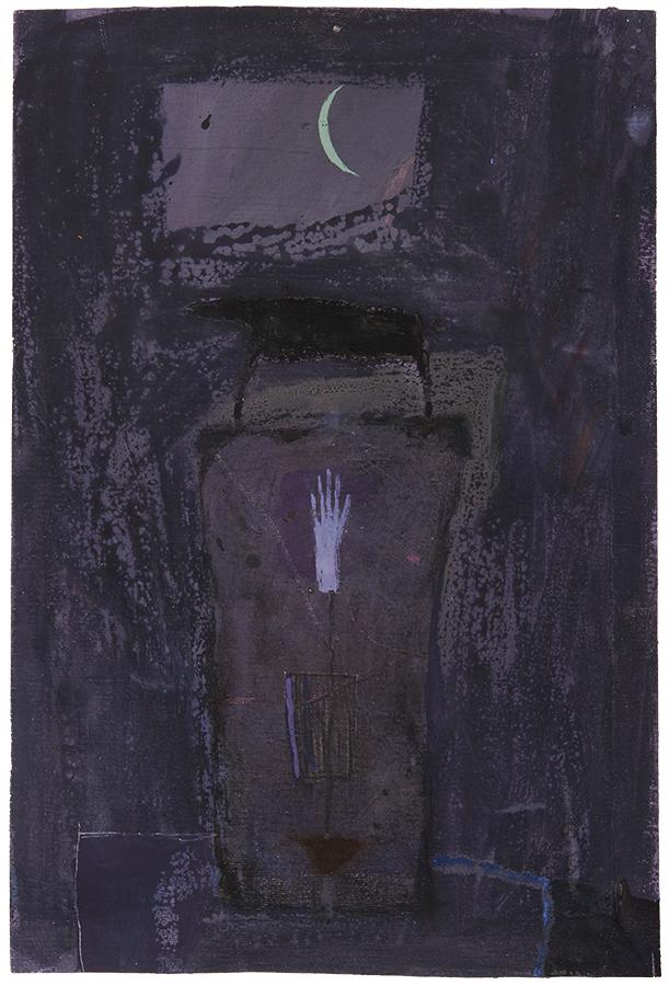 Artistic drawing, artist: Visnja Petrovic, title: Untitled (Torso), year: 1989, media: mixed media on canvas, dimensions: 39.2 x 26.2 cm (15.4 x 10.3 inch)