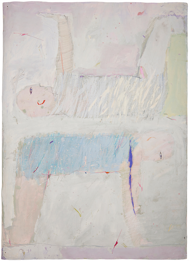 Artistic drawing, artist: Visnja Petrovic, title: Untitled (Two men), year: 1987, media: mixed media on canvas, dimensions: 97.3 x 70.8 cm (38.3 x 27.9 inch)