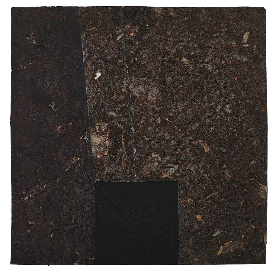 Artistic abstract drawing, artist: Visnja Petrovic, title: Untitled, year: 1997, media: mixed media on dark handmade paper, dimensions: 15.2 x 15.2 cm (6 x 6 inch)