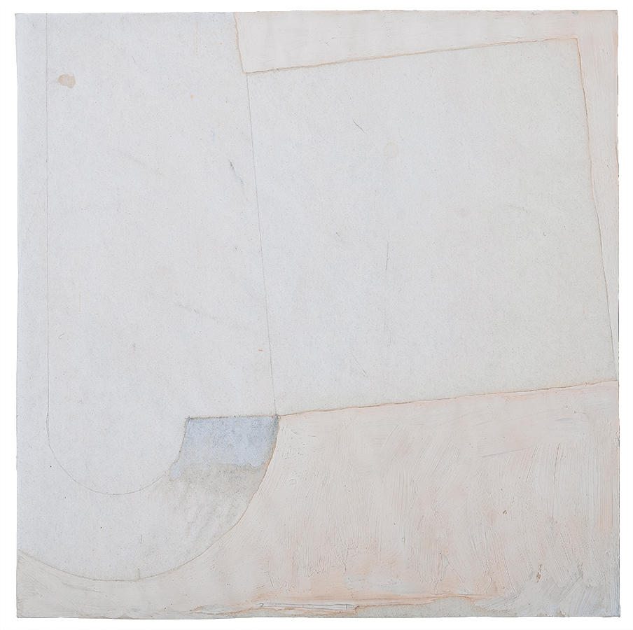 Artistic abstract drawing, artist: Visnja Petrovic, title: Untitled, year: 1997, media: mixed media on almost transparent white paper, dimensions: 15.2 x 15.2 cm (6 x 6 inch)